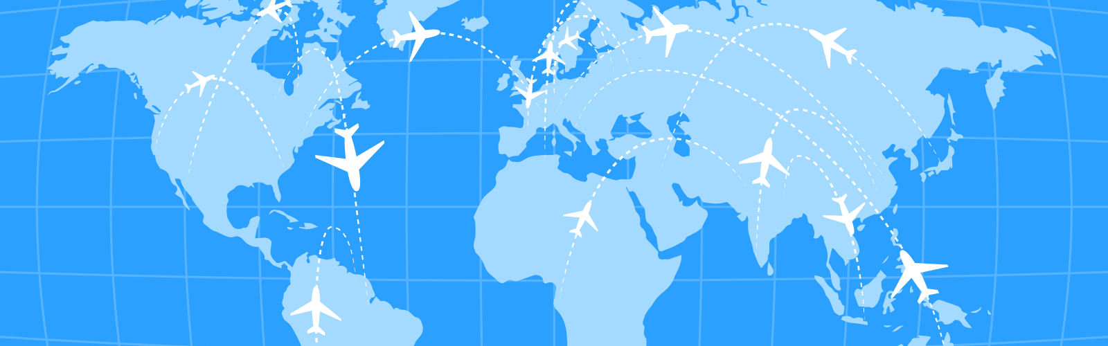 planes traveling the globe graphic